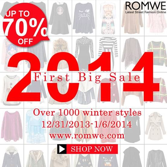 2014 First Big Sale! Over 1000 winter styles! Up to 70% off! Opportunity knocks once! No restock once sold out! Large amount of Spring new styles are coming soon! ------------------------- Primeira #PROMOÇÃO 2014 #Romwe - Até 70 % de desconto!  Time: 12/31/2013~1/6/2014