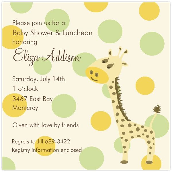 Giraffe Square Boy Baby Shower Invitations Paperstyle Crafts