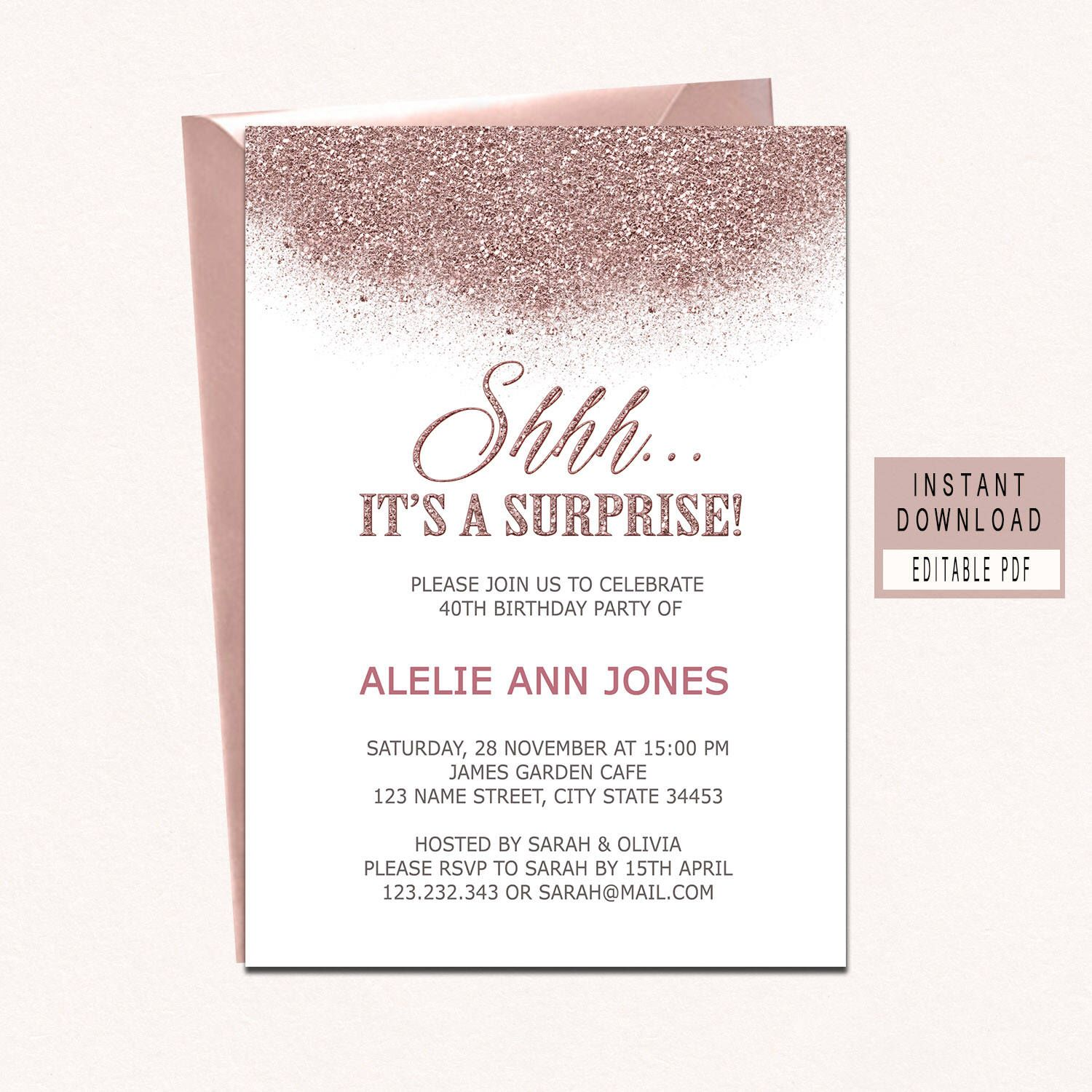 surprise birthday invitation instant download rose gold surprise