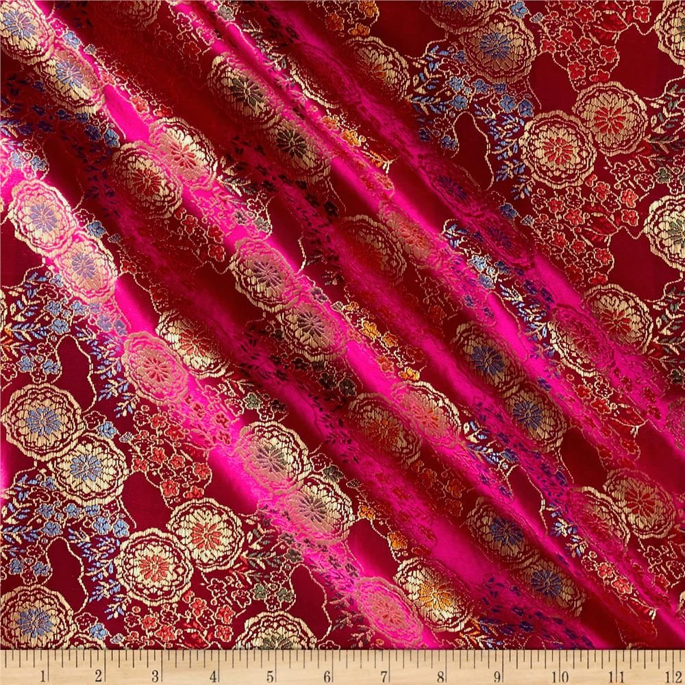 3c1a8c2c2 Chinese Brocade Medallions Fuchsia Gold from @fabricdotcom This unique Chinese  brocade fabric has a crisp hand and a brilliant metallic sheen.