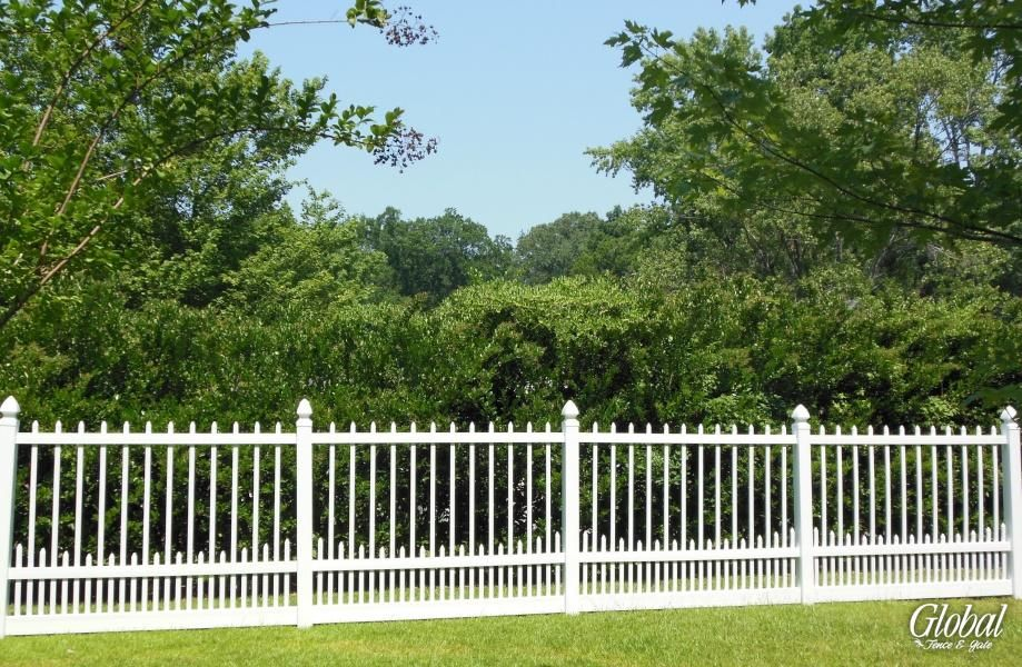 6 Foot Tall Vinyl Picket Fence Comes In 8 Foot Sections Boring But Probably Easiest Vinyl Picket Fence Fence Vinyl Fence