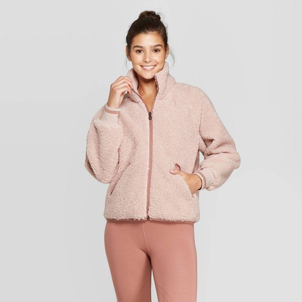 Women's Sherpa Full Zip Jacket JoyLab Burlwood M, Size