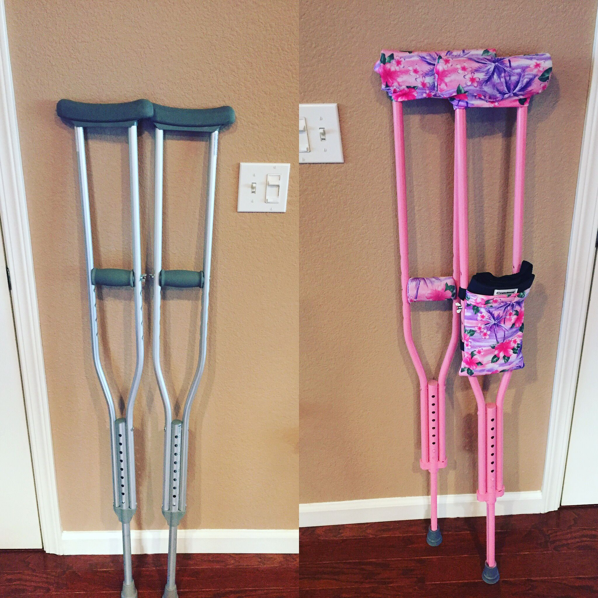 Easy Painted Crutches Added Some Fun Comfortable Pads And Tote From Crutcheze Crutches Sewing Patterns Broken Foot