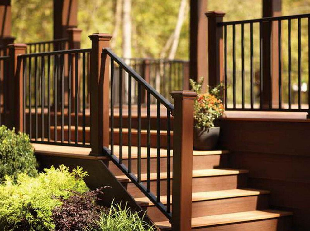 Outdoor step railing ideas pinteres for Garden decking banister