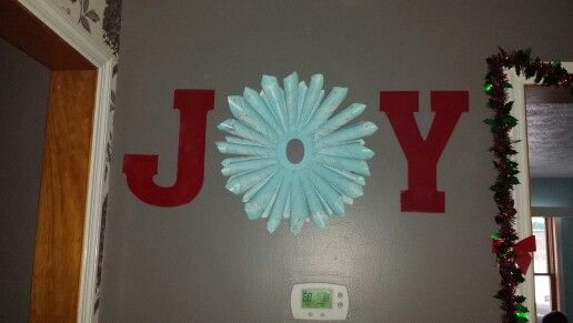 Joy wreath for christmas letters spray painted from hobby for Alphabet christmas wreath