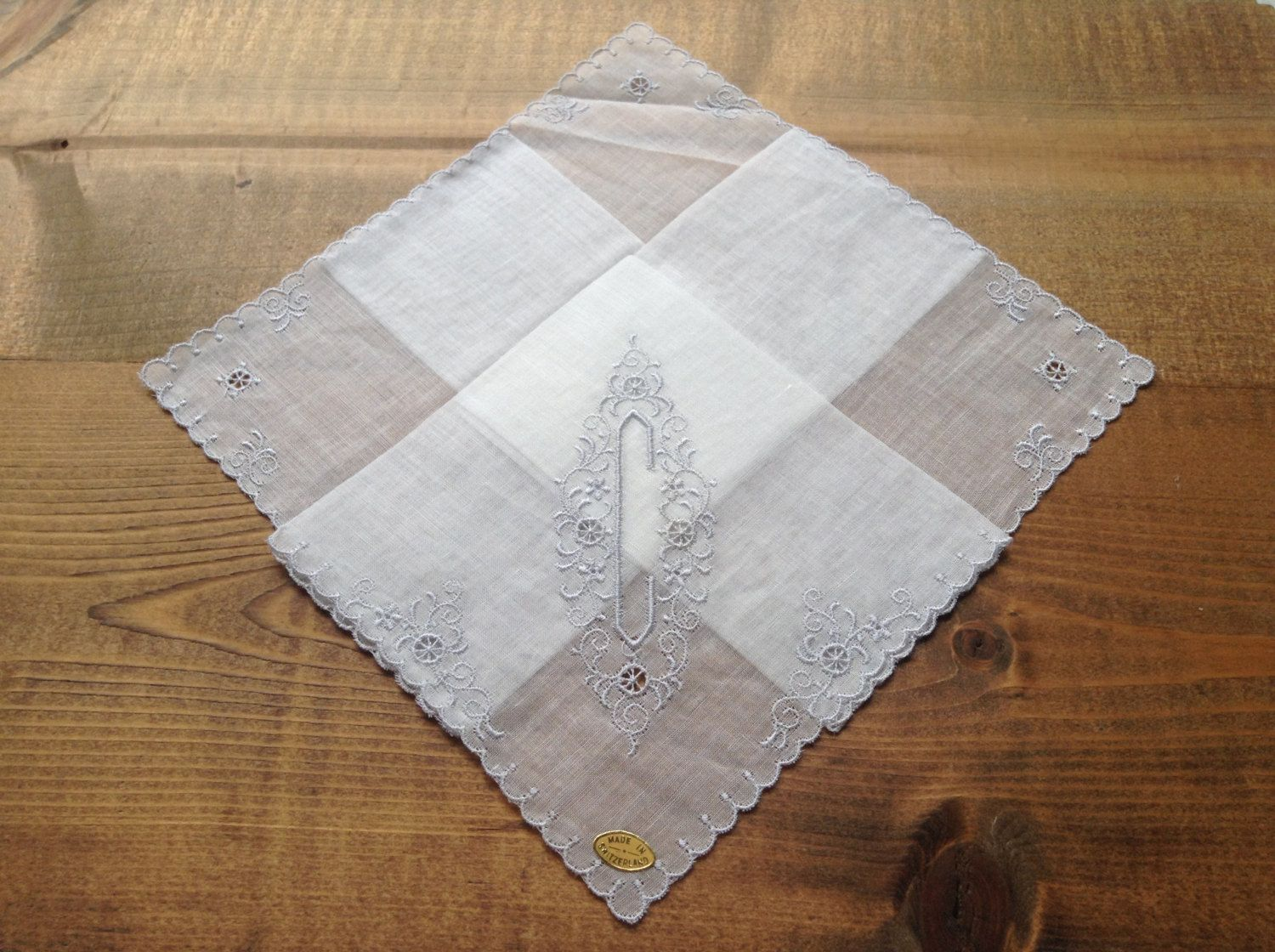Beautiful white lace embroidered wedding hanky with monogram initial C by Yebisu on Etsy
