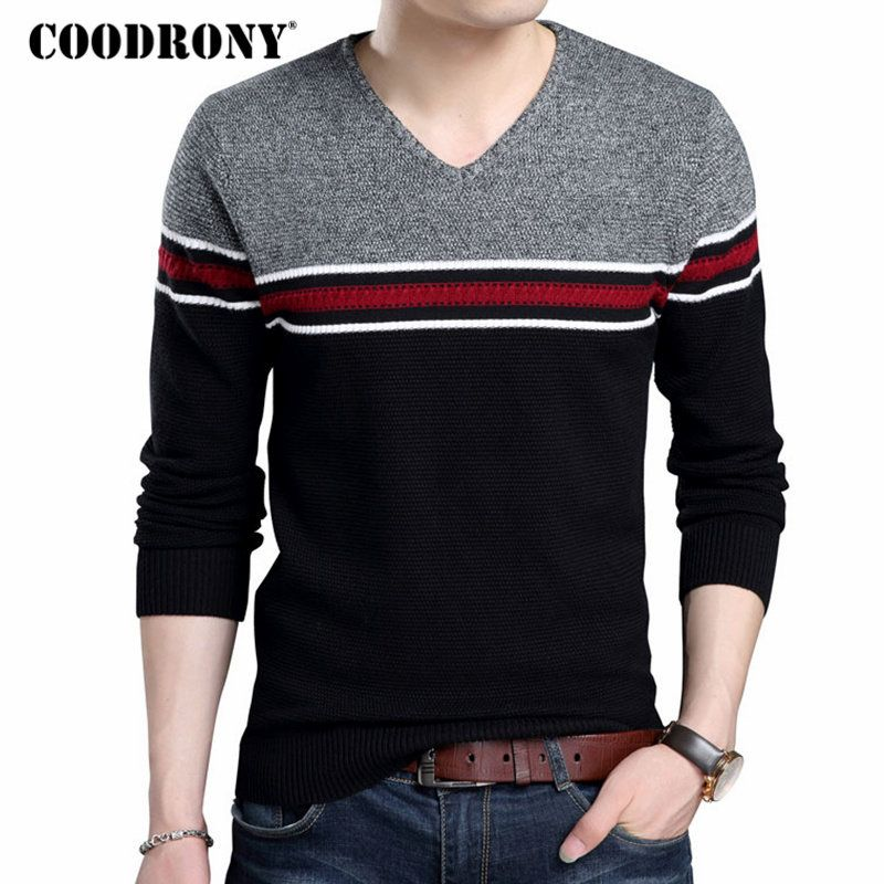COODRONY Brand Sweater Men Casual Striped V Neck Pull Homme