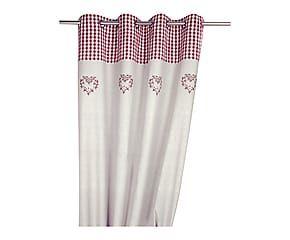 Rideau coton chambray brodé, beige et rouge - 150*260 | Deco ...