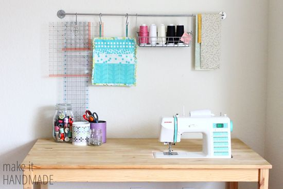 Make It Handmade: Easy DIY IKEA Sewing Table Hack A Sewing Machine Recessed  Into The Table Via A Hole In The Tabletop And A Small Shelf Underneath To  ...