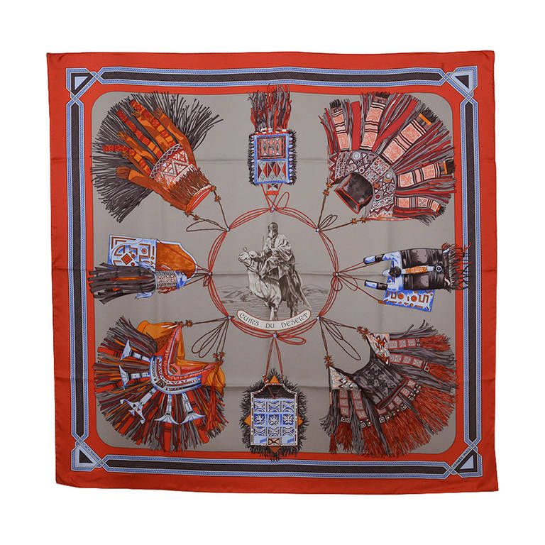 Hermes Cuirs du Desert Silk Scarf   From a collection of rare vintage  scarves at https 0a8a1d2e83d