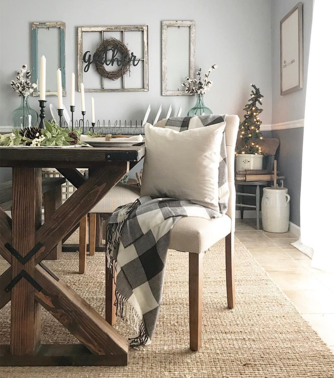 Pottery Barn Living Room With Carpet And Decorative Plant: Dining Room Farmhouse Christmas Decor Buffalo Check