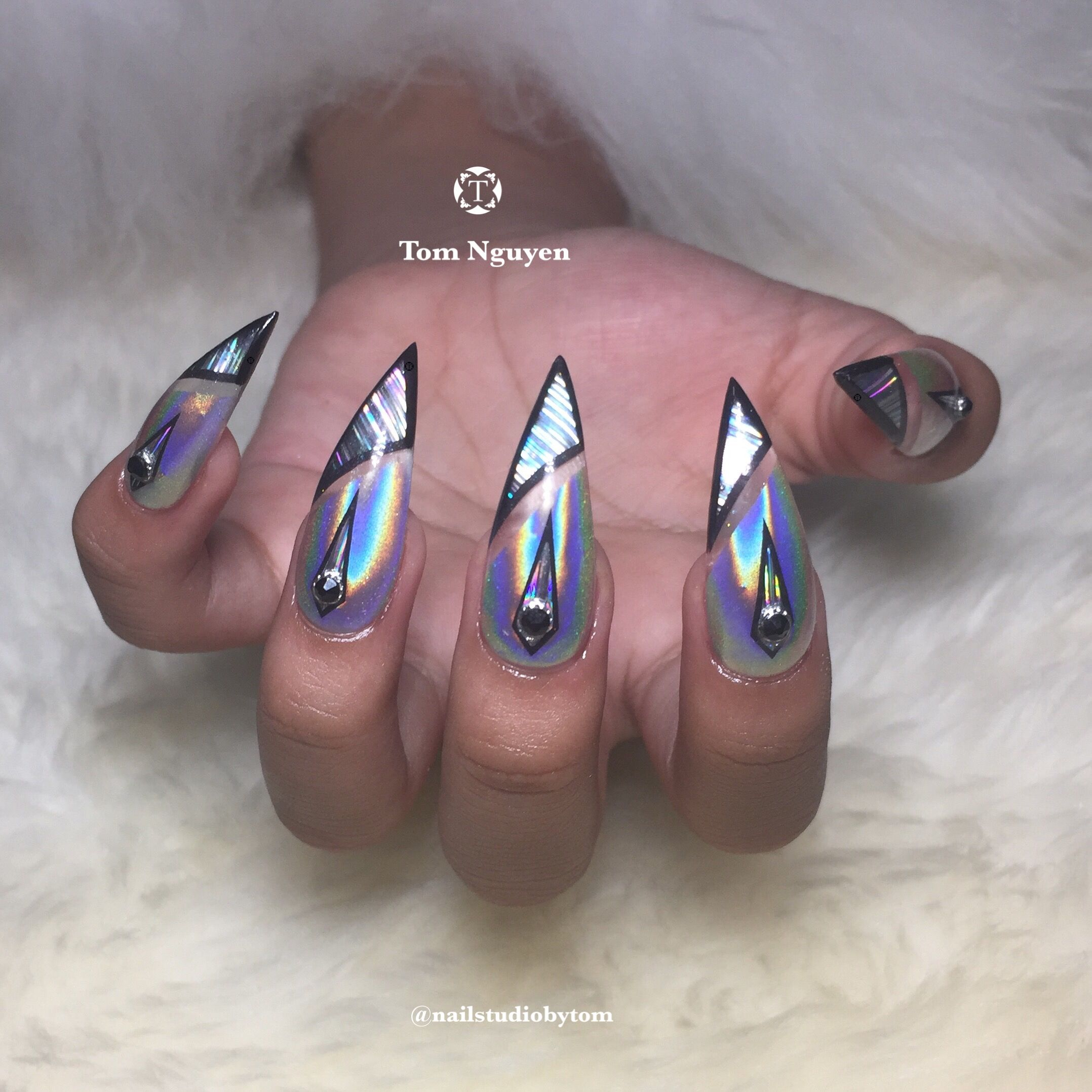 Bold and Sassy Stiletto Holographic Nail Design by Tom Nguyen ...