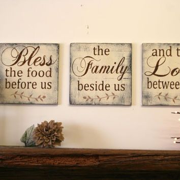 bless the food before us wood wallhanging wood kitchen sign wood