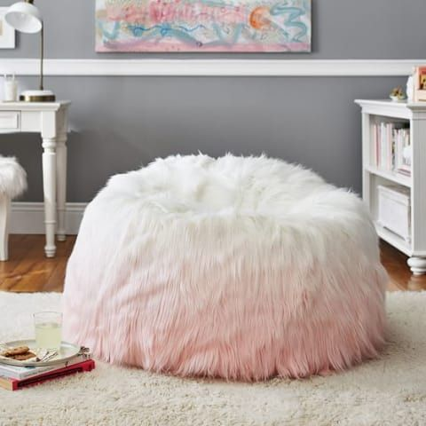 Peach Ombre Fur Rific Beanbag Pbteen The Kelaye Suite