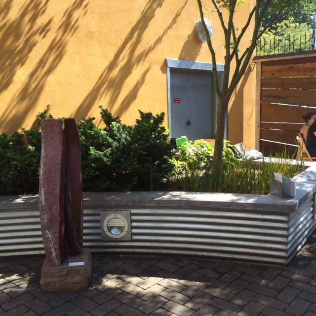 Corrugated Corten Retaining Wall Google Search Concrete Patio Small Brick Patio Landscaping Retaining Walls