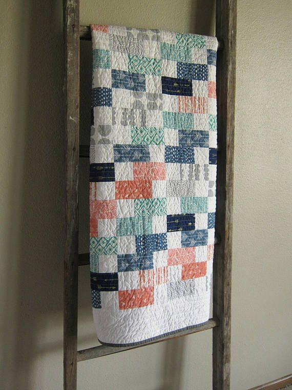 CUSTOM for Jackie - Woodland Baby Quilt - Blue/Orange/Teal/Gray ... : custom baby quilts - Adamdwight.com