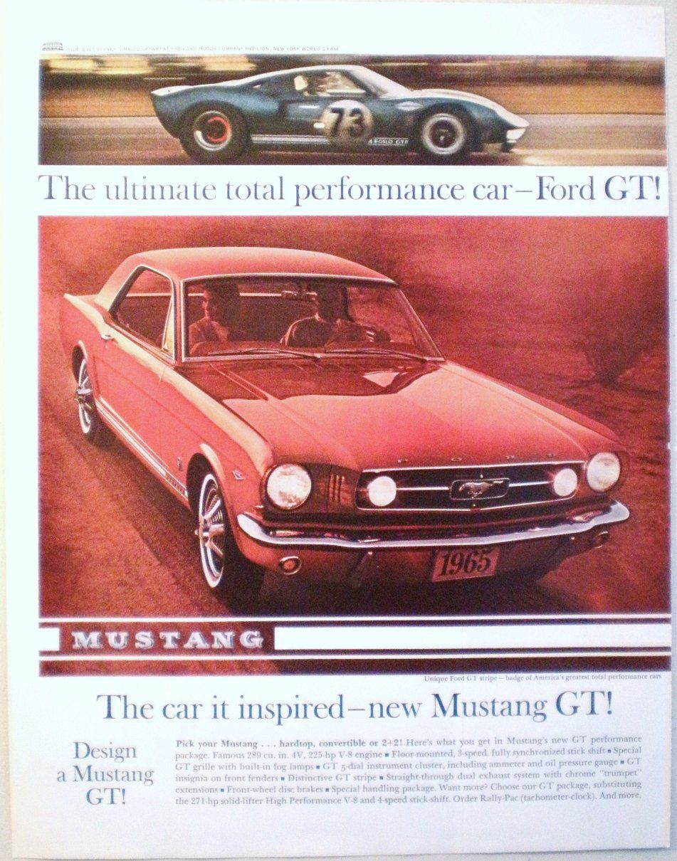 Ad For  Mustang Gt Saturday Eve Post