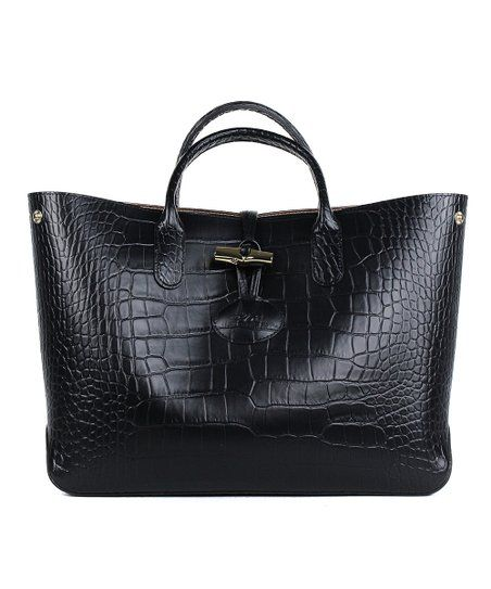 3a4905d6b Longchamp Black Croco-Embossed Roseau Leather Satchel | zulily ...