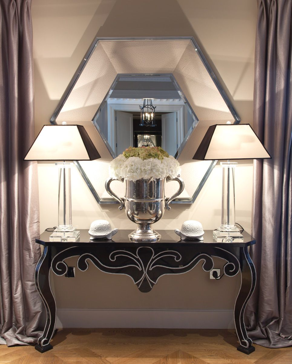 LUXE Cream Ostrich Leather Hexagon Mirror Enjoy & Be Inspired More Beautiful Hollywood Interior Design Inspirations To Repin & Share @ InStyle-Decor.com Beverly Hills Enjoy