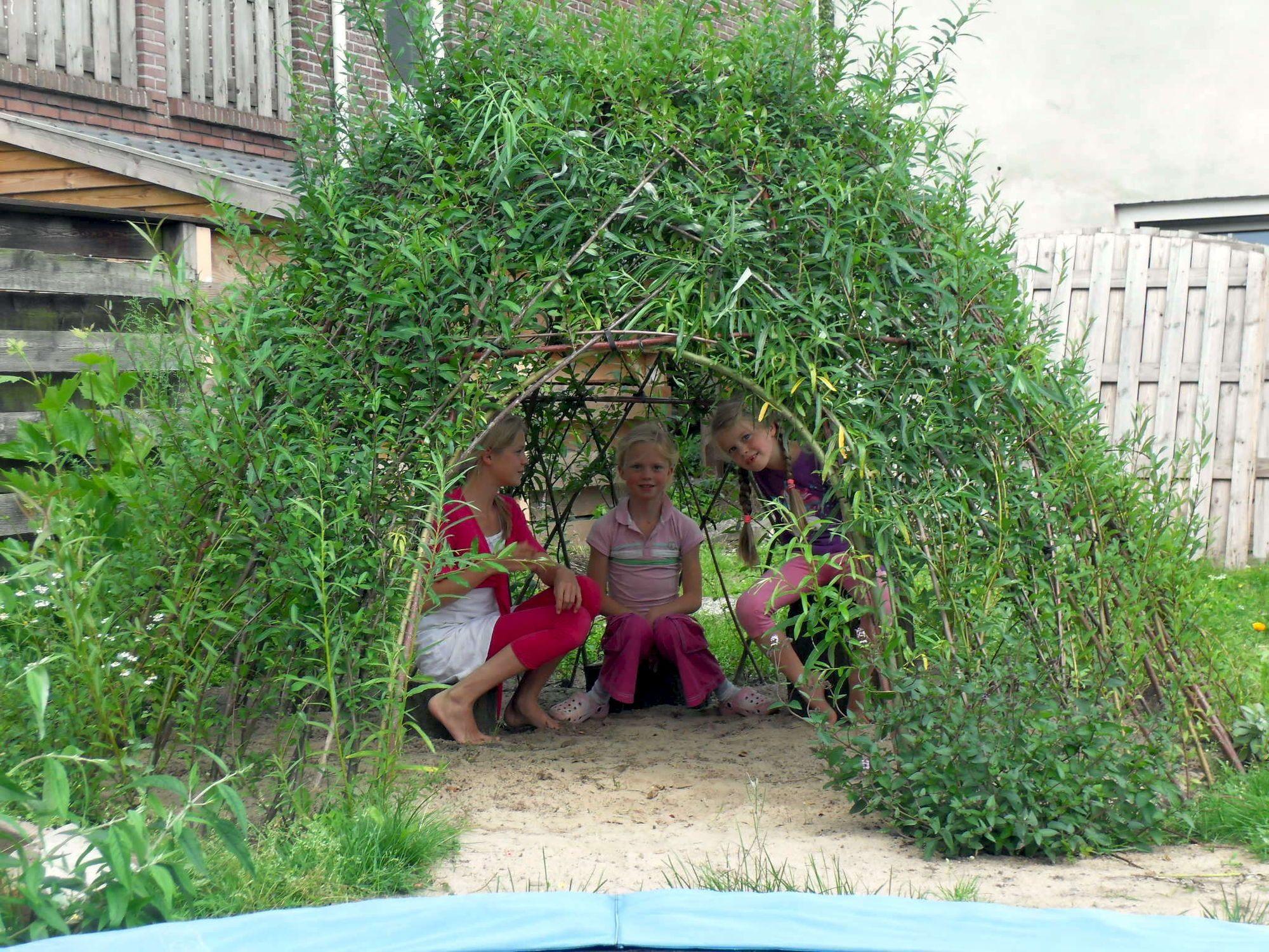 wilgenhut maak van snoeiafval van knotwilgen een levende hut of