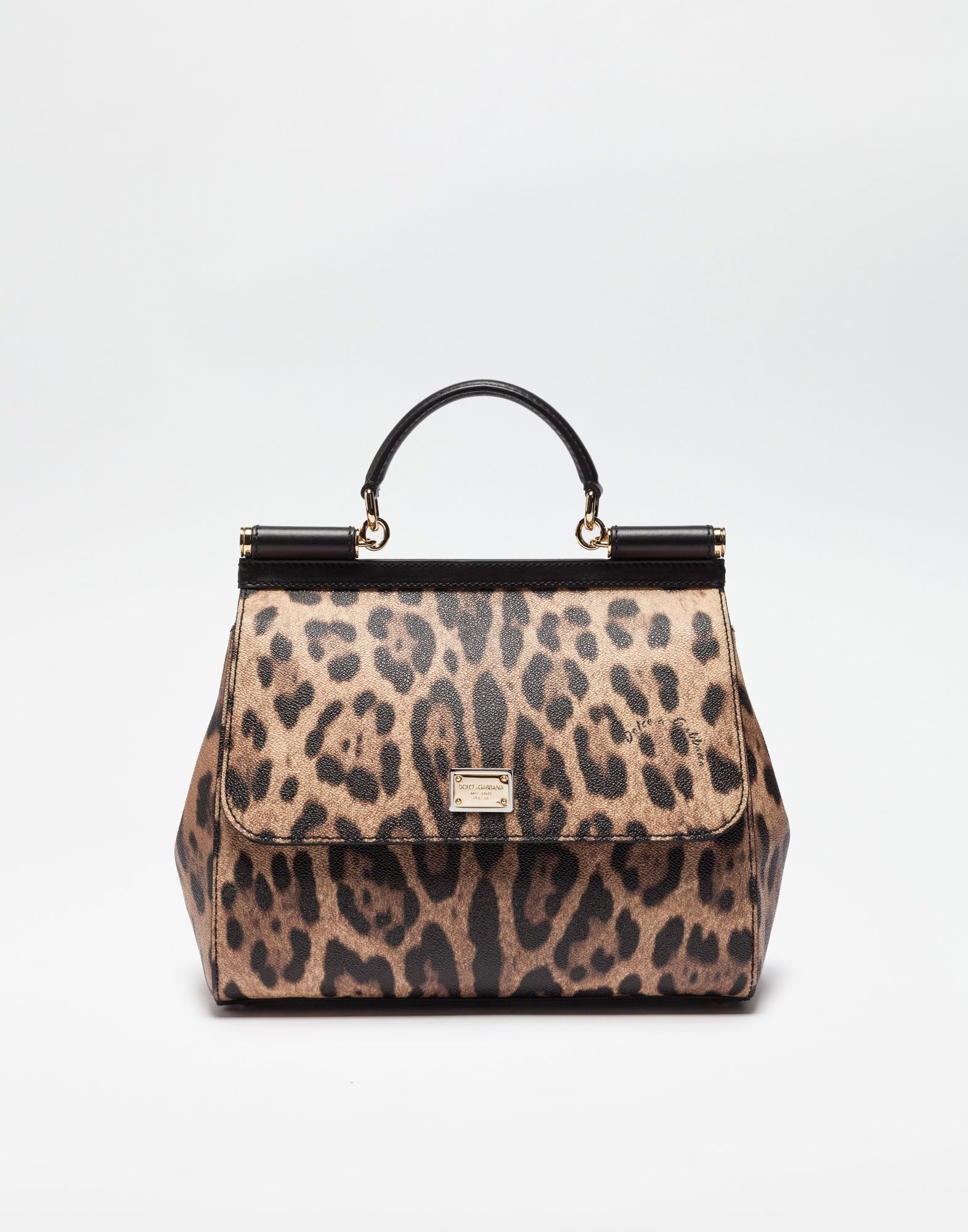 DOLCE   GABBANA REGULAR SICILY BAG IN LEOPARD TEXTURED LEATHER.   dolcegabbana  bags  polyester  leather  lining  shoulder bags  pvc  hand  bags  cotton   418fc2b687282