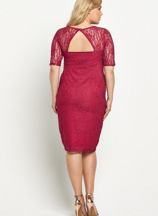 So Fabulous Sweetheart Neck Half Sleeve Lace Midi Dress Uk