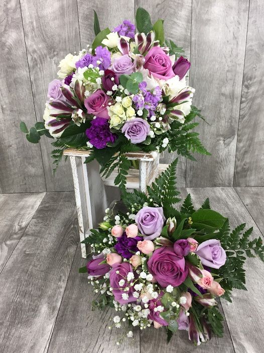 Purple and white flowers to make any bride a princess. | Arranged ...