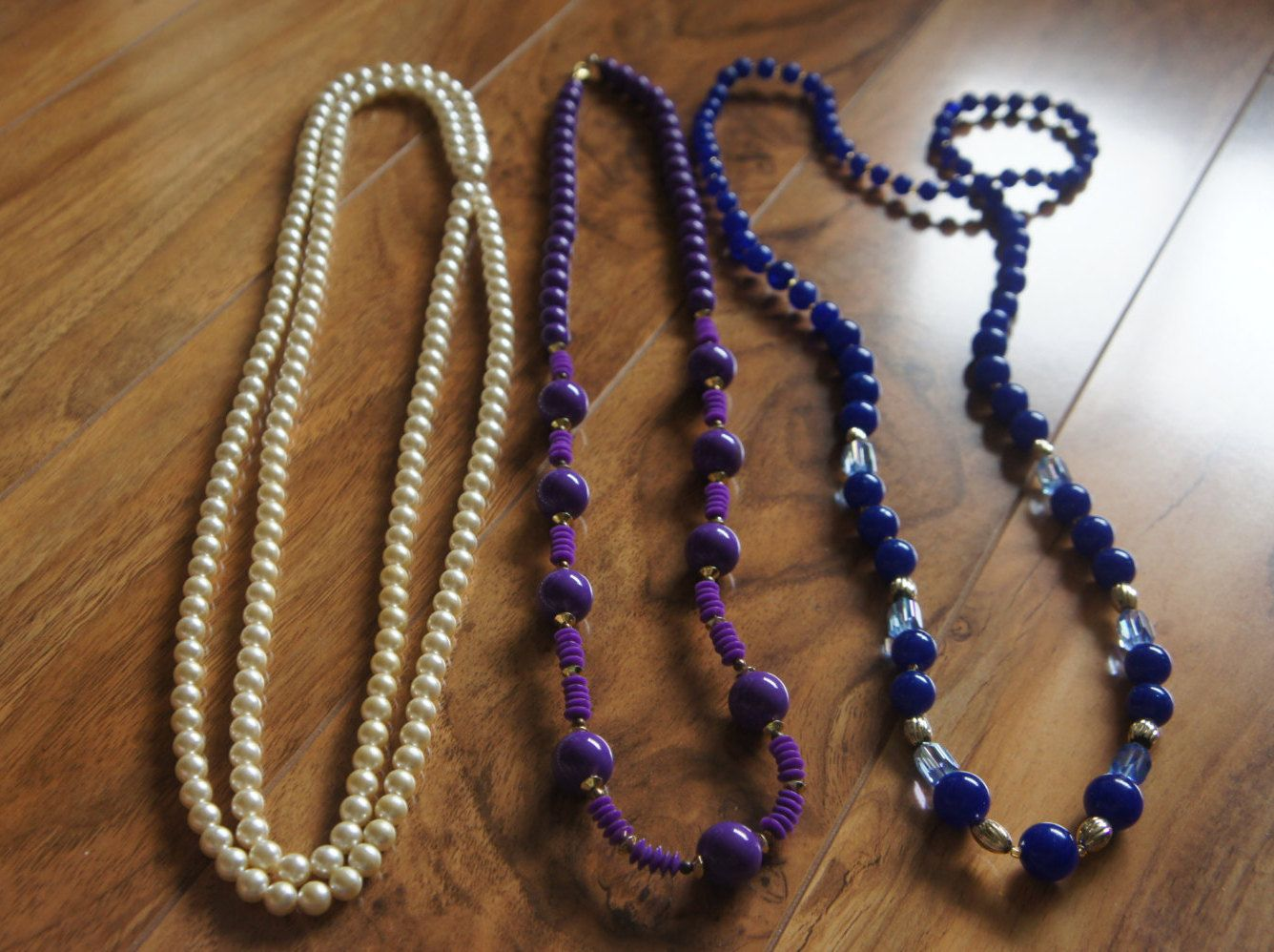 Estate Vintage Jewelry Necklace   Beaded  Beads  Blue Pearl White  Faux Pearls Violet Purple S-003 by VintageEstate86 on Etsy