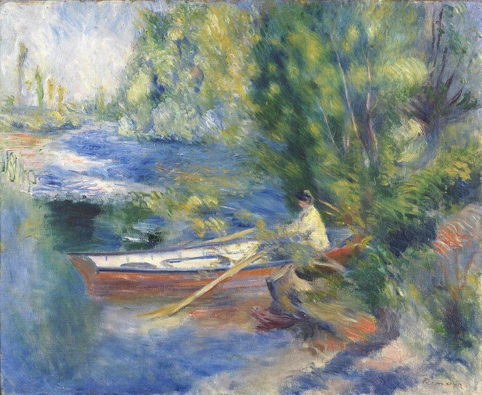 Pierre Auguste Renoir (Limoges 1841-1919 Cagnes-sur-Mer) Au bord de l'Eau.  Oil on canvas, 54.6 x 65.7 cm.  Signed lower right 'Renoir' 1885.