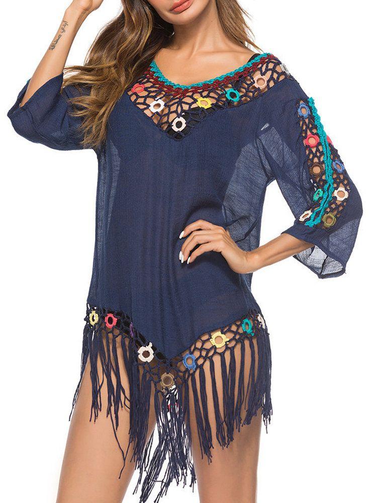 a885b44200e32 Women Crochet Tassel Hollow Out Patchwork Sunscreen Cover Ups Swimsuits