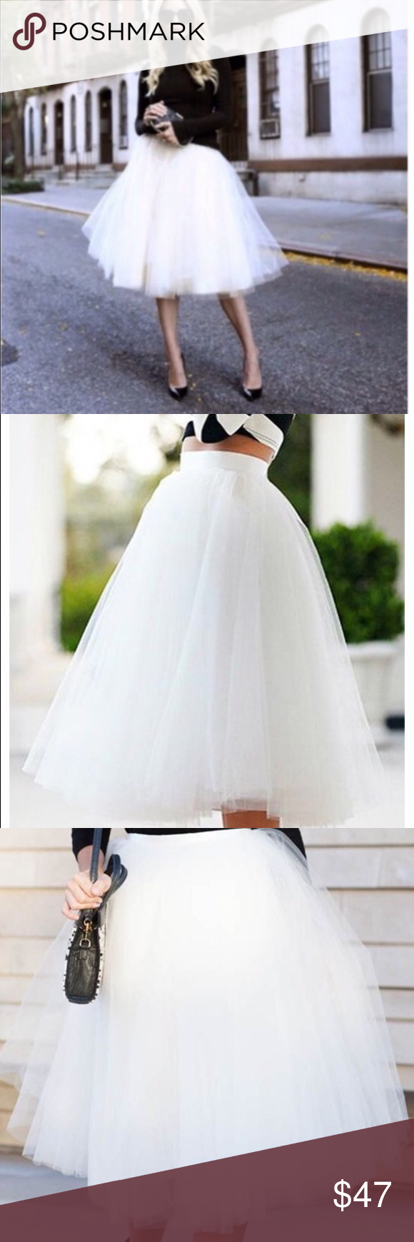 Beautiful white Tulle Skirt- 5 layers ! Gorgeous white tulle skirt - so pretty and so many ways to wear this beauty . Skirts