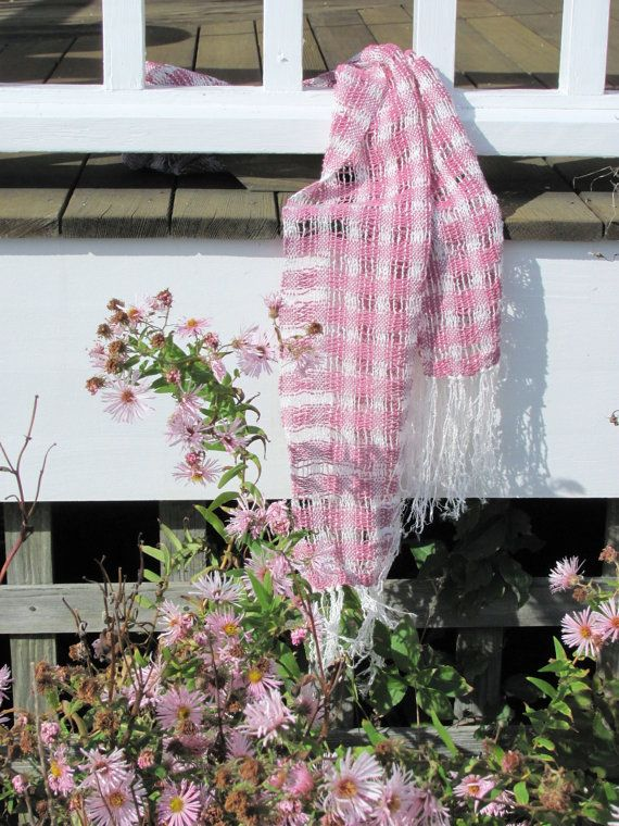 Long Pink & White Handwoven Light Lacy Fall by aclhandweaver