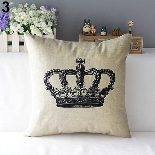 Photo of Retro Home Decorative Linen Cotton Blended Cushion Cover Crown Throw Pillow Case – Red