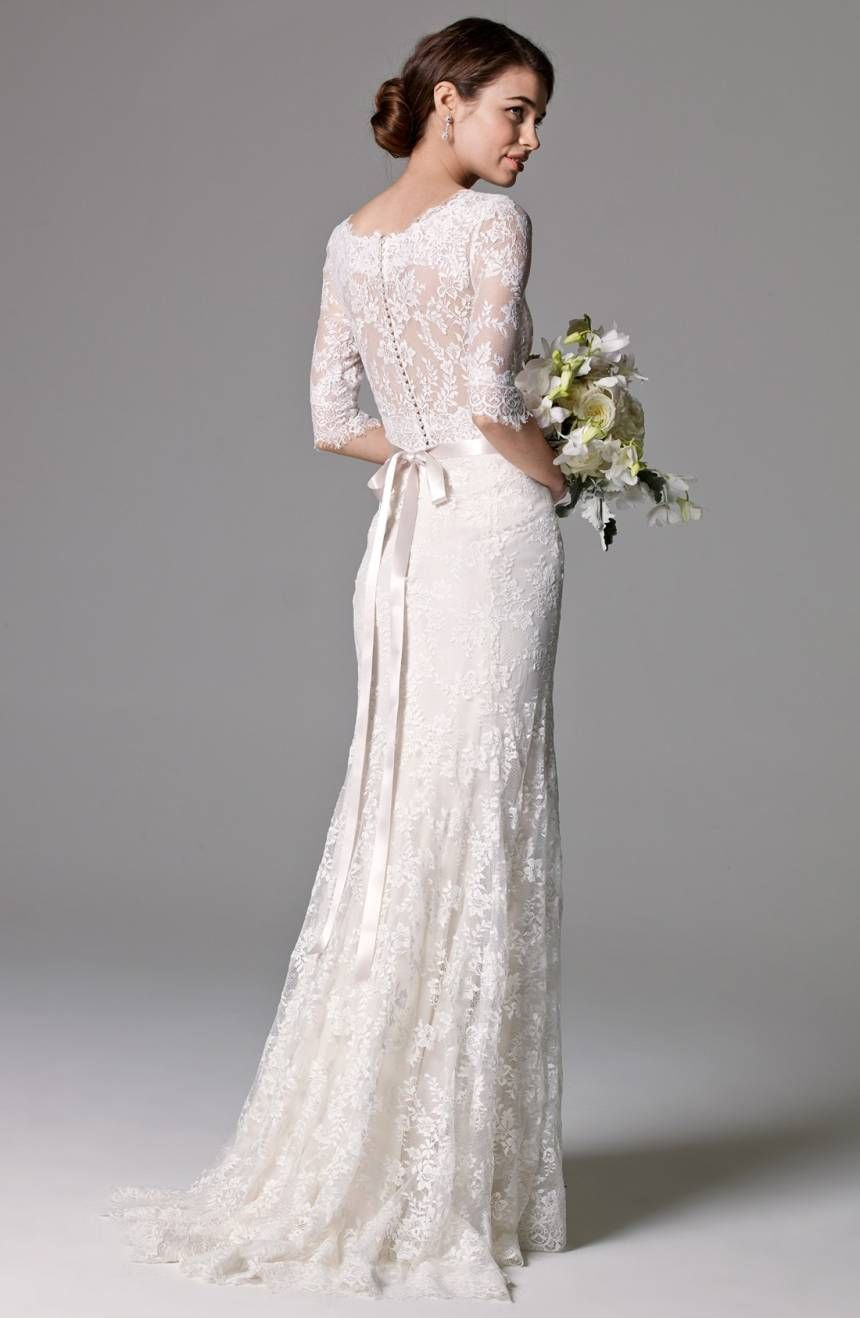 Lace Wedding Dress Illusion Back Wedding Dress Long Sleeve