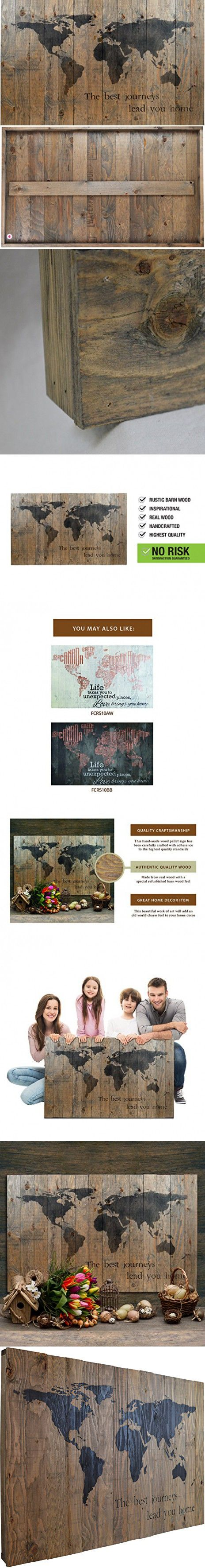 World map rustic barn wood pallet sign the best journeys lead you