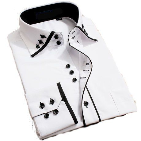 DONT LIKE BUTTONS..... Mens Italian Casual Fancy Collar Slim Fit Formal 74814f19dec2a