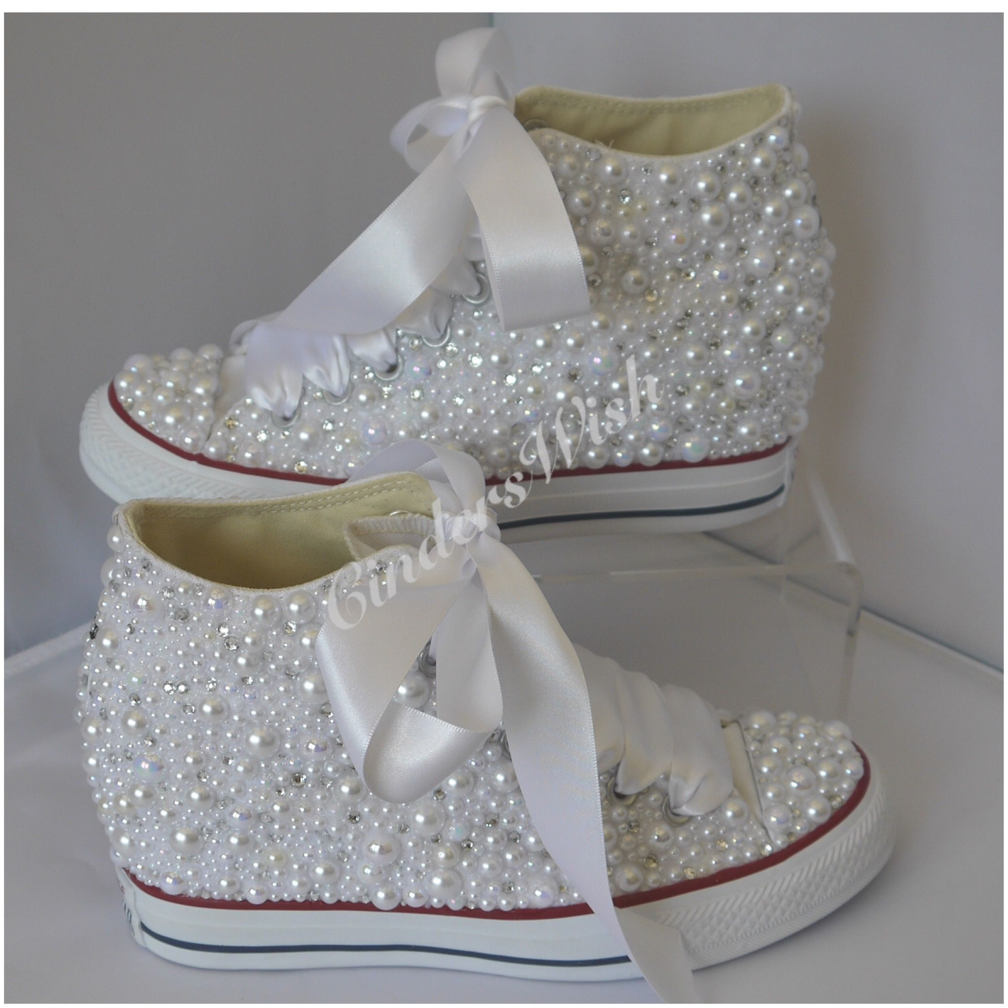 Beautiful Wedge Pearl Wedding Converse. All over pearls converse   wedding  converse    wedge  vintage  pearls  personalised  weddingshoes  oneofakind  ... 21234cb8c