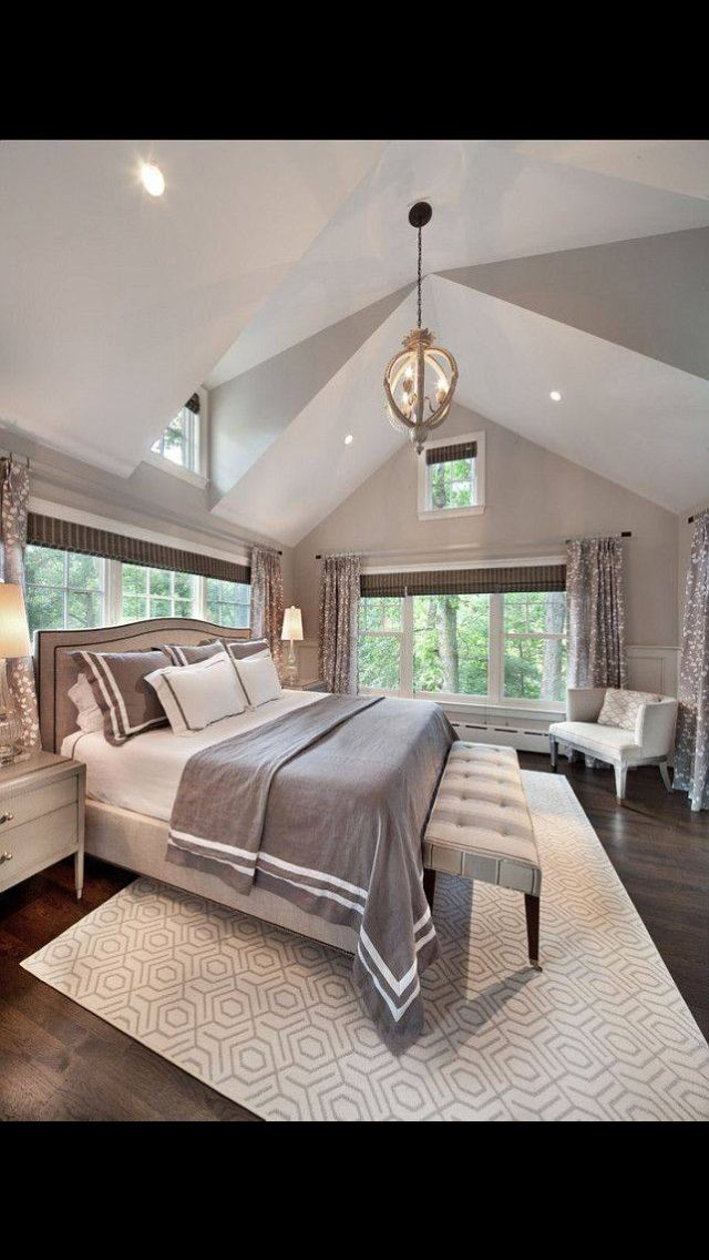 60 Gorgeous Master Bedroom Designs   Love The Light Fixture, Curtains,  Peaceful Feel Of The Grey And White.