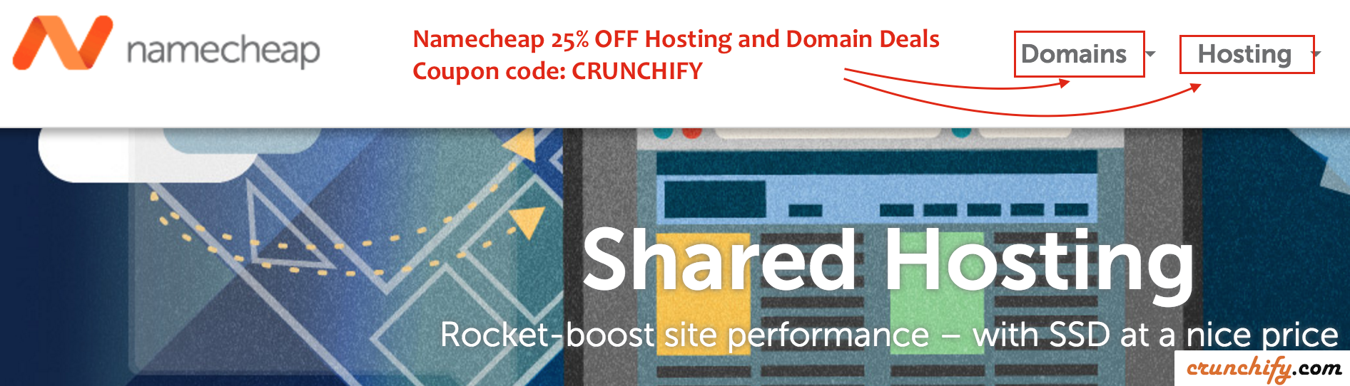 Namecheap and Crunchify Exclusive 25 off on Hosting and