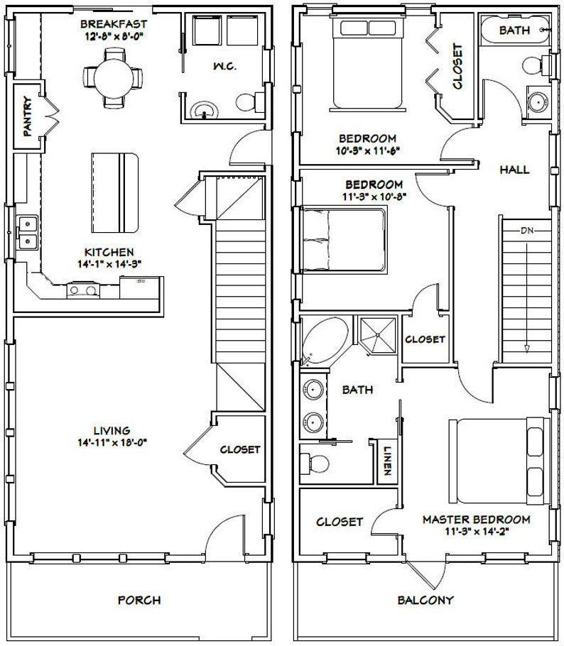 20x42 House 3 Bedroom 2 5 Bath 1 550 sq ft PDF Floor Plan Instant Download Model 3A