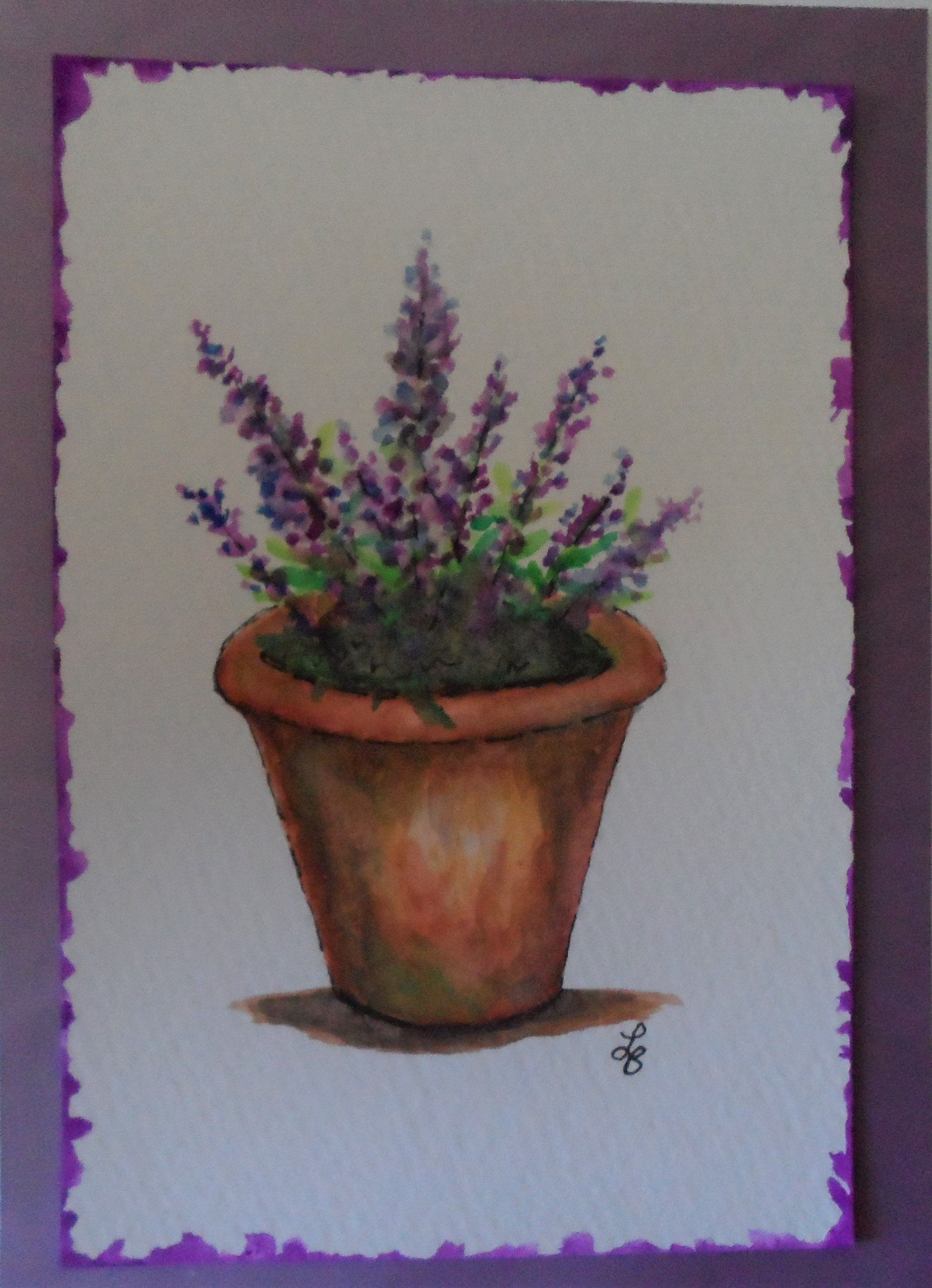Watercolor Lavender Card Watercolors And Ink Lavender In Flower Pot Greeting Card In 2020 Peony Painting Violet Wall Art Hydrangeas Art