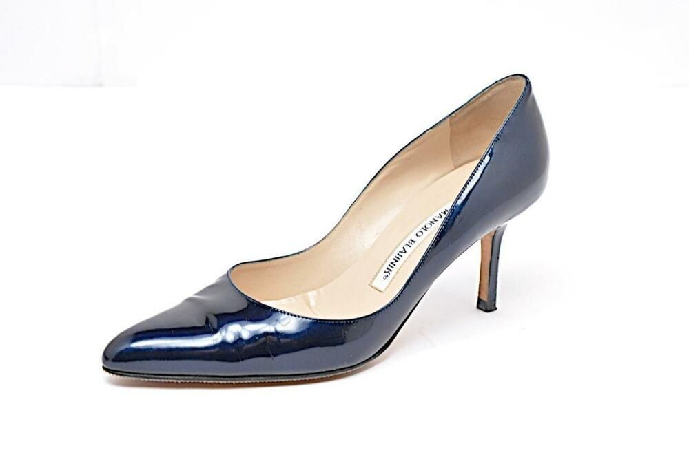 1c303c28378 MANOLO BLAHNIK Sapphire Blue Patent Leather 3