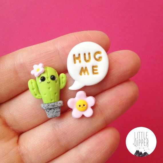 hug me cactus collar pin diy pinterest fimo p tes polym res et fait main. Black Bedroom Furniture Sets. Home Design Ideas