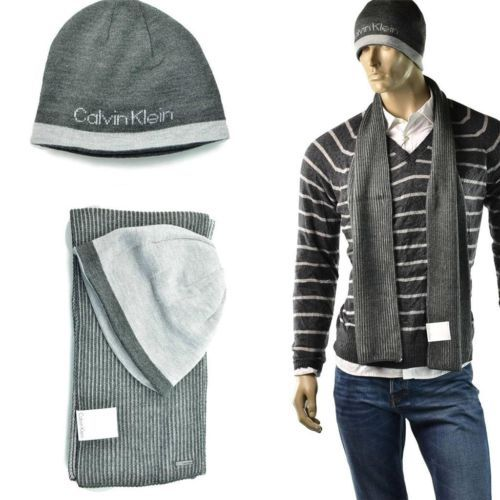 Calvin Klein Scarf   Hat Set Mens Winter Ribbed Neck CK Beanie Cap One Size  NEW 9096aaba204