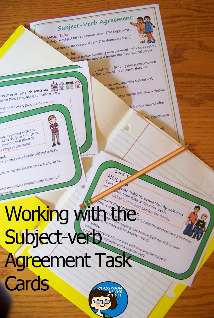 Subject Verb Agreement Task Cards Subject And Verb Task Cards Subject Verb Agreement [ 1094 x 735 Pixel ]