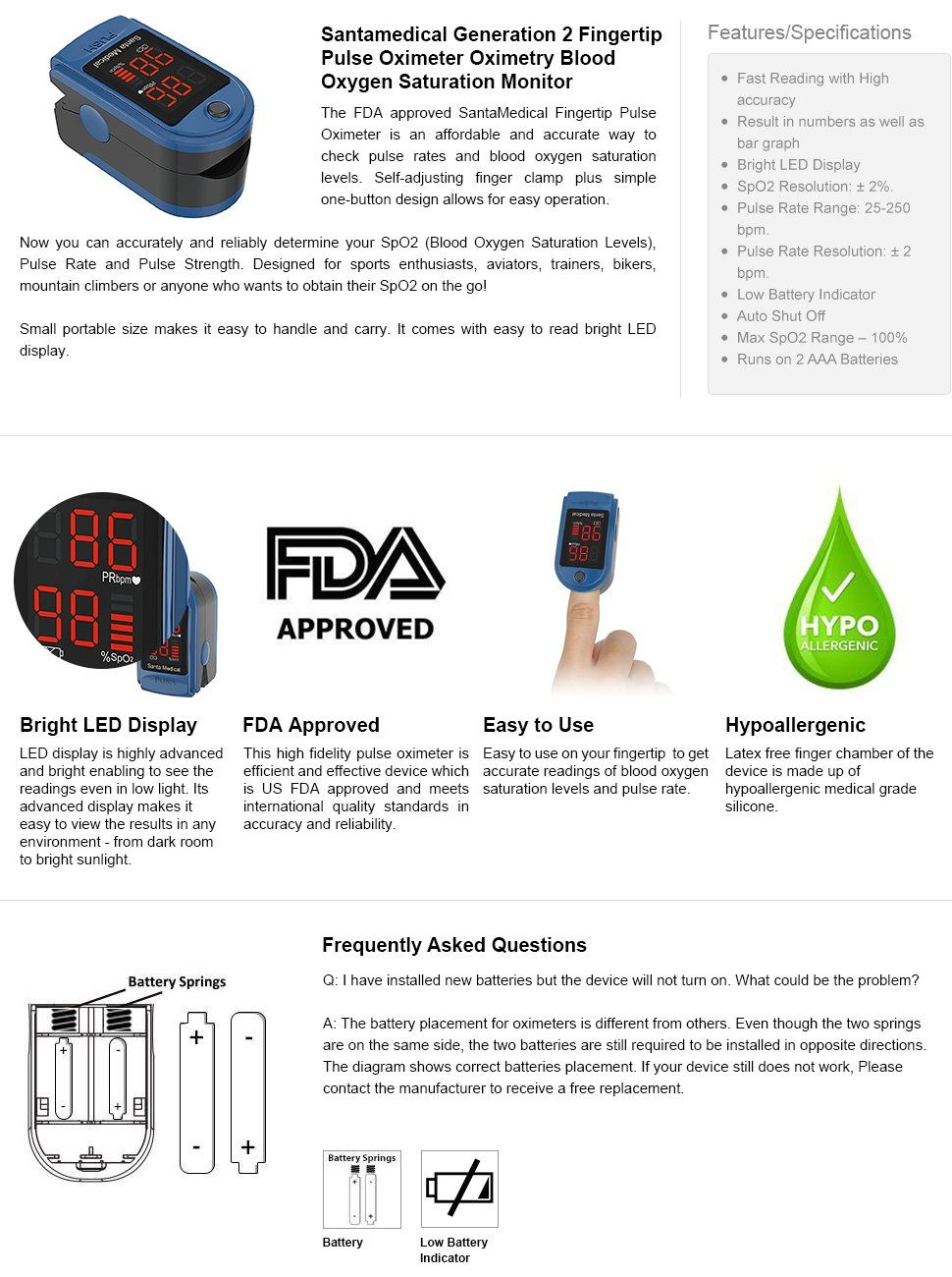 Amazon com: Santamedical Generation 2 Fingertip Pulse