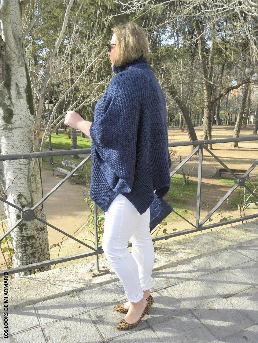 Jersey poncho oxygene jeans blanco violeta by mango - Violeta mango madrid ...