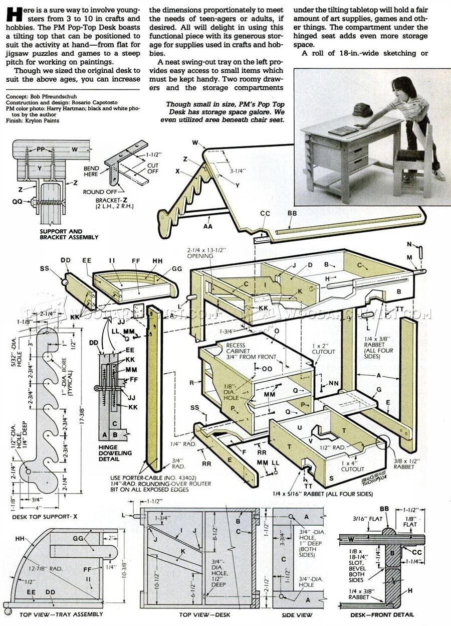 drawing furniture plans. #1011 Kids Desk Plans - Children\u0027s Furniture Drawing R