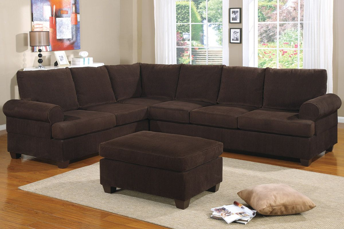 Reversible l shape couch in deep chocolate corduroy finish for Living room ideas l shaped sofa