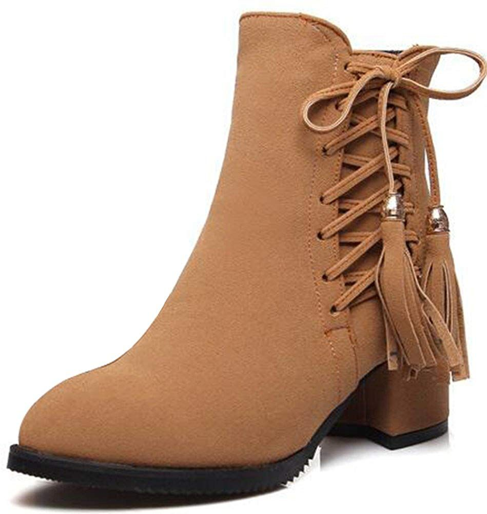 20c94842dc0 Summerwhisper Women s Sexy Faux Suede Lace-up Fringe Pointed Toe Booties  Side Zipper Block Mid Heel Ankle Boots Shoes -- Thanks a lot for having  visited our ...